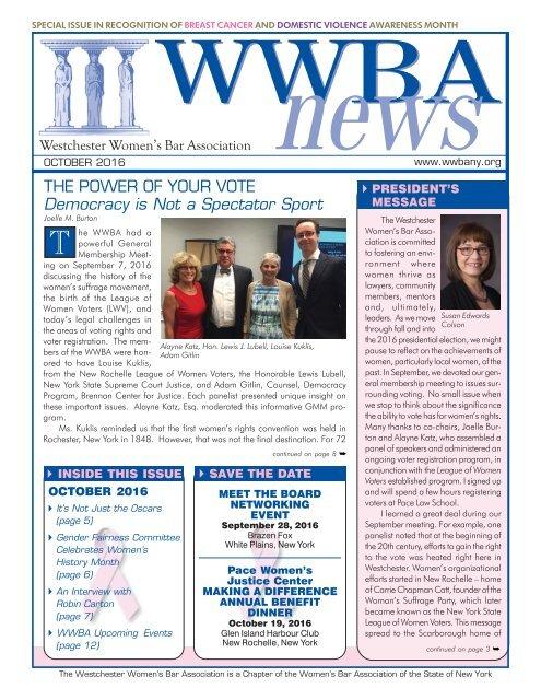 WWBA October 2016 Newsletter