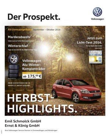 Der VW Prospekt - Herbst-Highlights