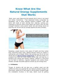 Know What Are the Natural Energy Supplements that Works