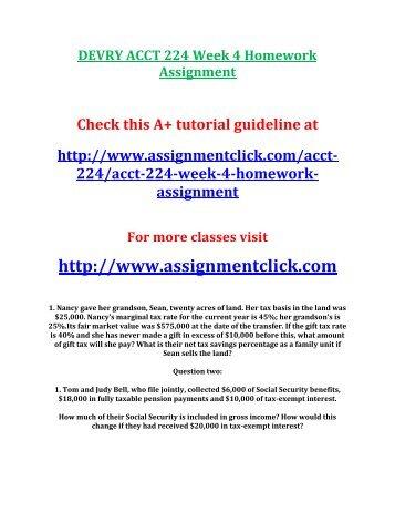 DEVRY ACCT 224 Week 4 Homework Assignment