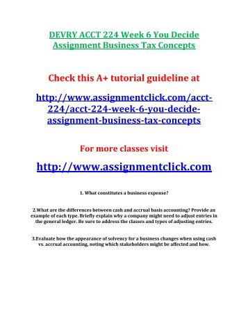 DEVRY ACCT 224 Week 6 You Decide Assignment Business Tax Concepts