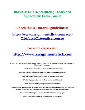 DEVRY ACCT 216 Accounting Theory and Applications Entire Course