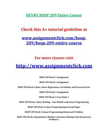 DEVRY BSOP 209 Entire Course