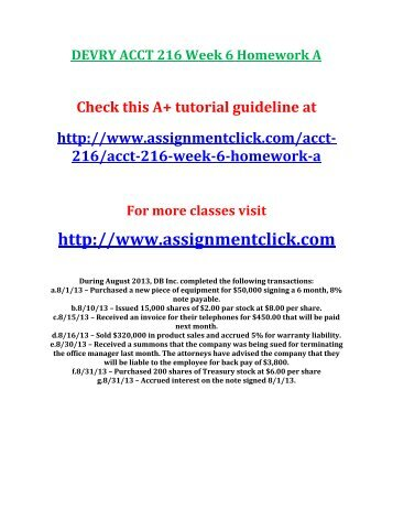 DEVRY ACCT 216 Week 6 Homework A