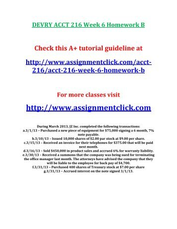 DEVRY ACCT 216 Week 6 Homework B