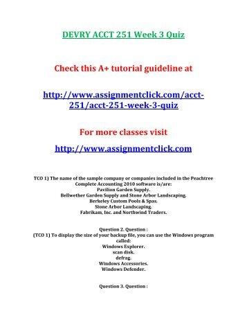 DEVRY ACCT 251 Week 3 Quiz