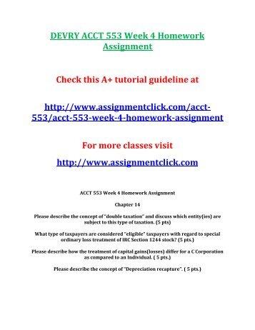 DEVRY ACCT 553 Week 4 Homework Assignment