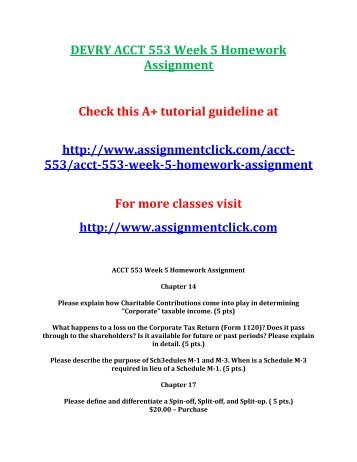 DEVRY ACCT 553 Week 5 Homework Assignment