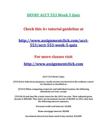 DEVRY ACCT 553 Week 5 Quiz