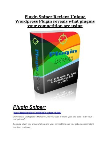 Plugin Sniper Review and Plugin Sniper (EXCLUSIVE) bonuses pack