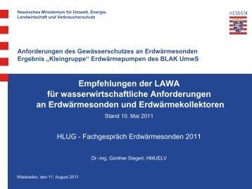 Anforderungen des Gewässerschutzes an Erdwärmesonden ...