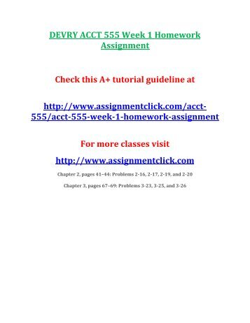 DEVRY ACCT 555 Week 1 Homework Assignment