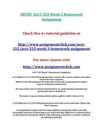 DEVRY ACCT 555 Week 3 Homework Assignment