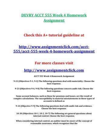 DEVRY ACCT 555 Week 4 Homework Assignment