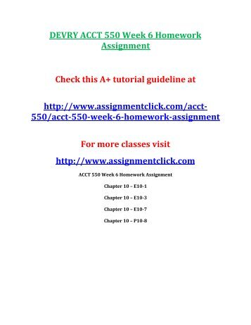 DEVRY ACCT 550 Week 6 Homework Assignment