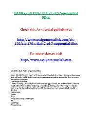DEVRY CIS 170 C iLab 7 of 7 Sequential Files