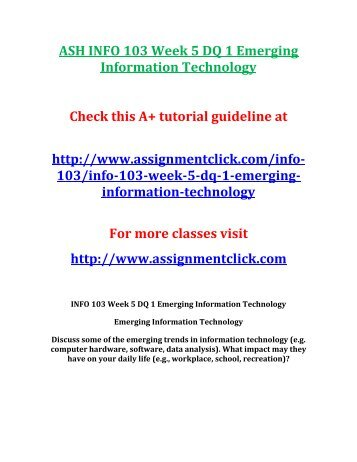 info 103 week 3 assignment Inf 103 week 3 assignment 1 using microsoft excel click here to purchase the tutorial.