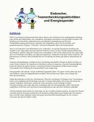 Eisbrecher, Teamentwicklungsaktivitäten und Energiespender