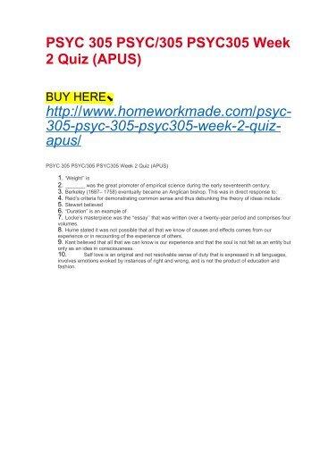 Psyc 324 Psyc 324 Psyc324 Week 2 Quiz Apus