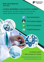 Global Hemophilia Management Market 2015-2020: Industry Analysis and Forecast
