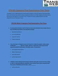STR 581 Capstone Final Examination Part Three - Transweb E Tutors