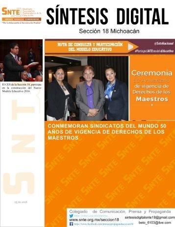 CONMEMORAN SINDICATOS DEL MUNDO 50 AÑOS DE VIGENCIA DE DERECHOS DE LOS MAESTROS