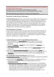 Zur Entstehung von Gruppen: Es gibt Bedingungen, die die ...