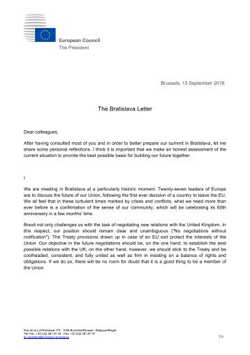 The Bratislava Letter