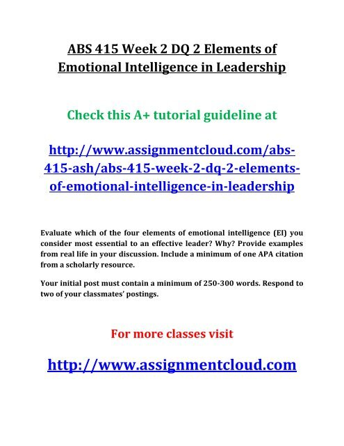Ash Abs 415 Week 2 Dq 2 Elements Of Emotional Intelligence In