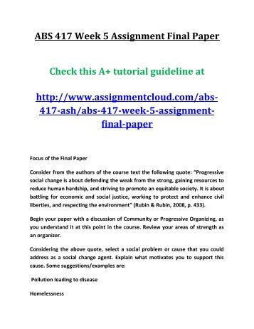 ASH ABS 417 Week 5 Assignment Final Paper