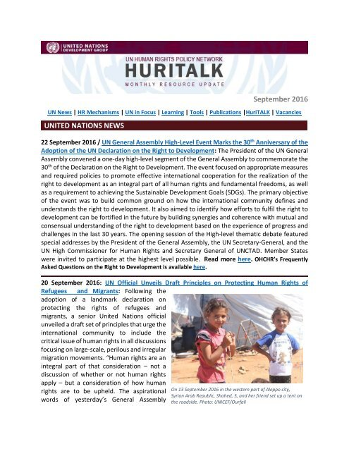 September 2016 UNITED NATIONS NEWS