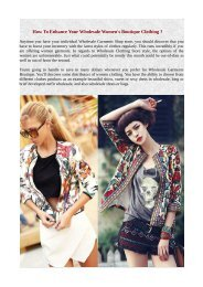 How To Enhance Your Wholesale Women's Boutique Clothing