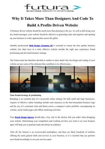 Why It Takes More Than Designers And Code To Build A Profits Driven Website