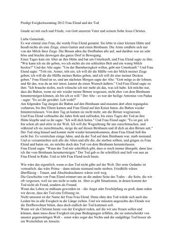 Predigt Ewigkeitssonntag 2012 Frau Elend und der Tod