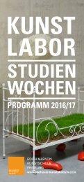 Programm 2016/17 Kunstlabor / Studienwochen