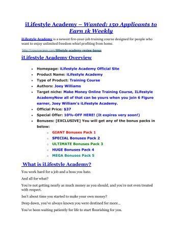 iLifestyle Academy review in detail – iLifestyle Academy Massive bonus