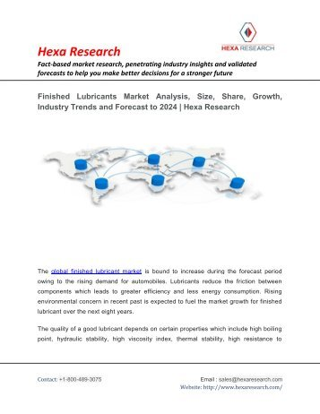 Finished Lubricants Market Analysis, Size, Share, Growth, Industry Trends and Forecast to 2024 | Hexa Research