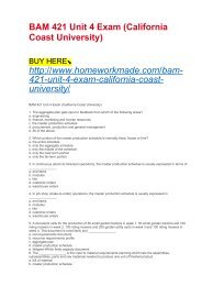BAM 421 Unit 4 Exam (California Coast University)