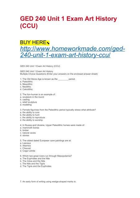 GED 240 Unit 1 Exam Art History (CCU)