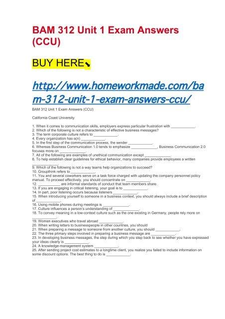 business communication exam