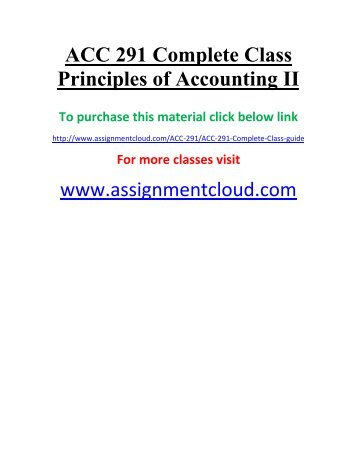 UOP ACC 291 Complete Class Principles of Accounting II