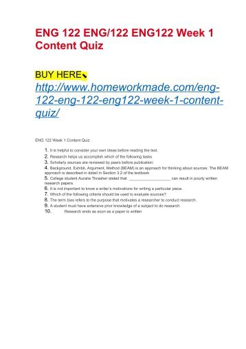 ENG 122 ENG:122 ENG122 Week 1 Content Quiz