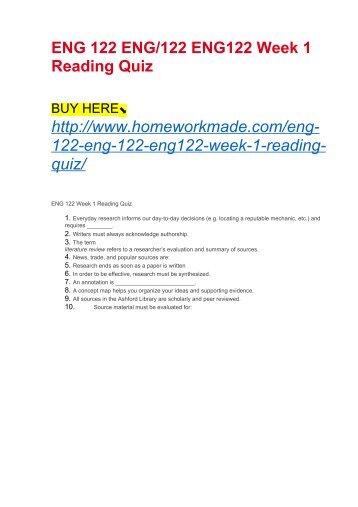ENG 122 ENG:122 ENG122 Week 1 Reading Quiz