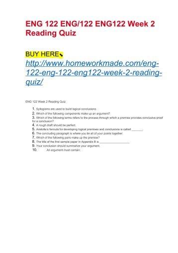 ENG 122 ENG:122 ENG122 Week 2 Reading Quiz