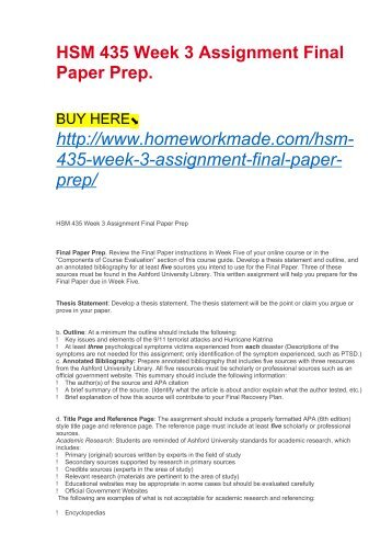 HSM 435 Week 3 Assignment Final Paper Prep.