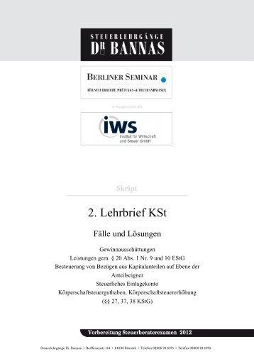 2. Lehrbrief KSt - Steuerlehrgänge Dr. Bannas