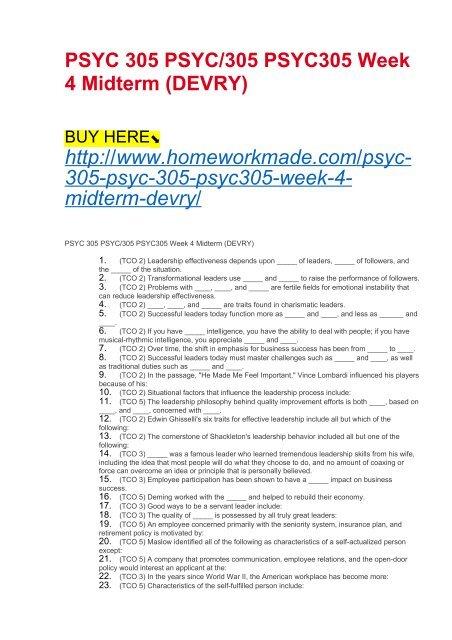 PSYC 305 PSYC:305 PSYC305 Week 4 Midterm (DEVRY)