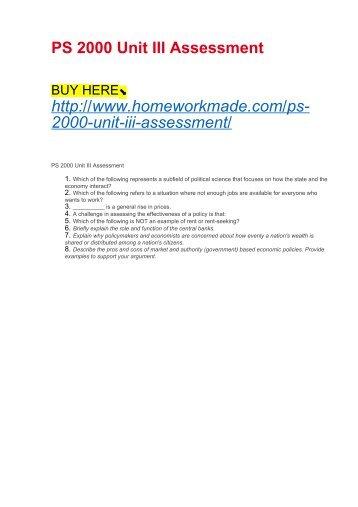 PS 2000 Unit III Assessment