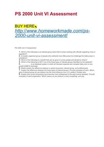 PS 2000 Unit VI Assessment