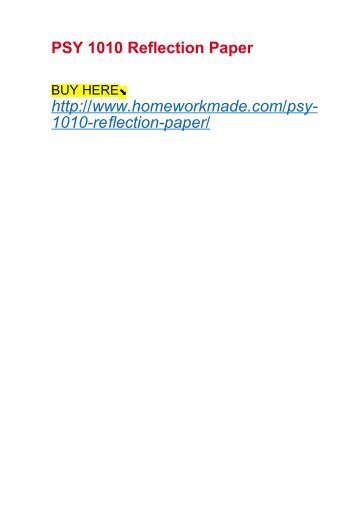 PSY 1010 Reflection Paper